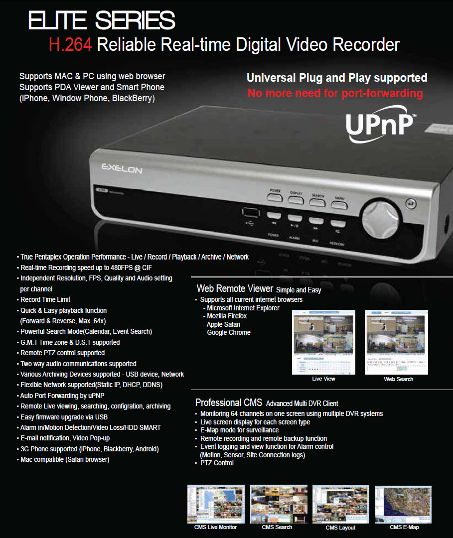 Full Featured H.264 Pentaplex DVR (4CH / 120fs)