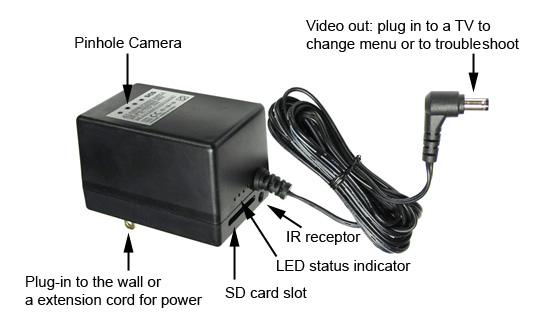 Power Adapter Hidden Camera
