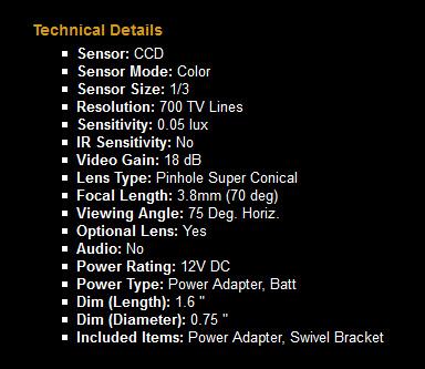Color High Res Super Cone Pinhole High Bullet Camera