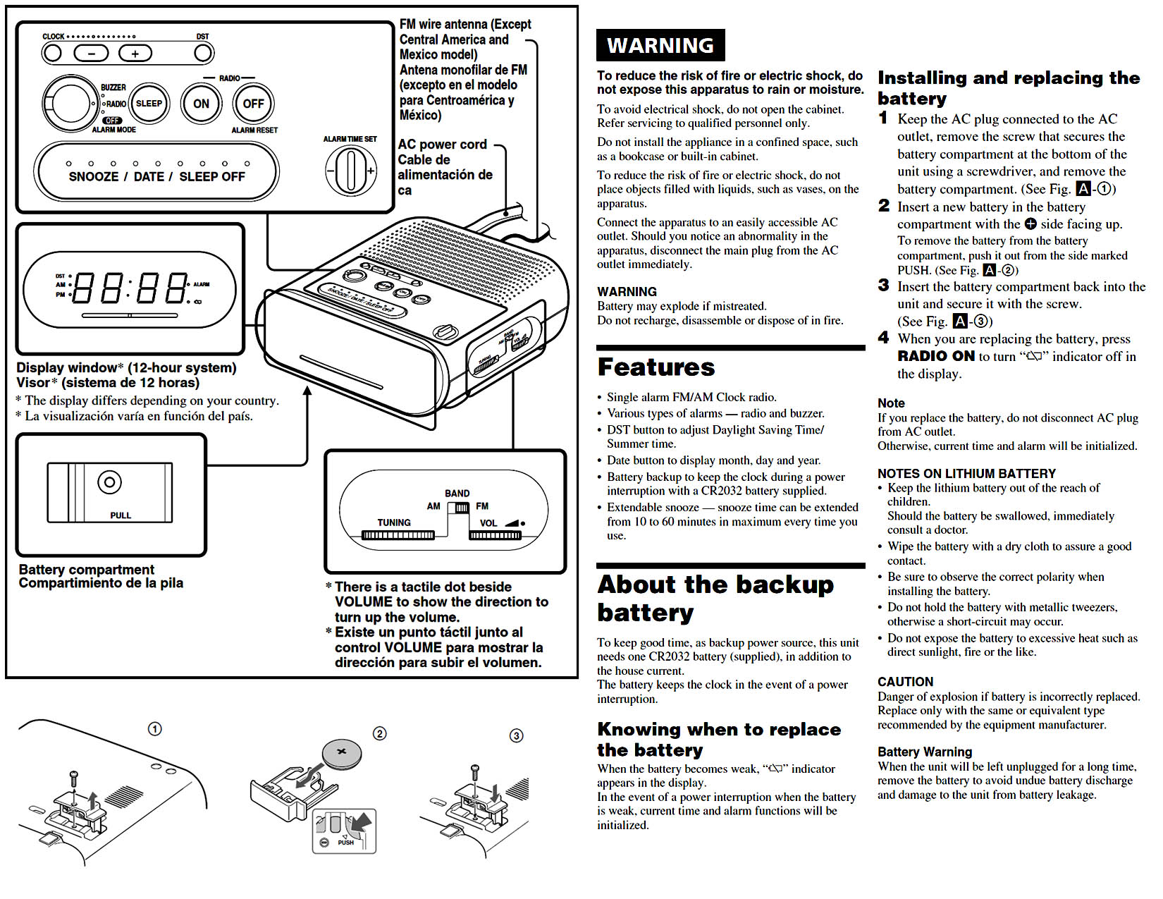 Sony Clock Radio Operating Instructions For Dream Machine Icf Picture